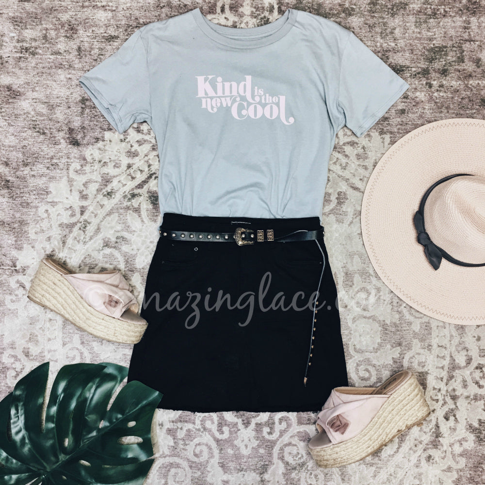 KIND IS THE NEW COOL TOP AND BLACK SKIRT OUTFIT