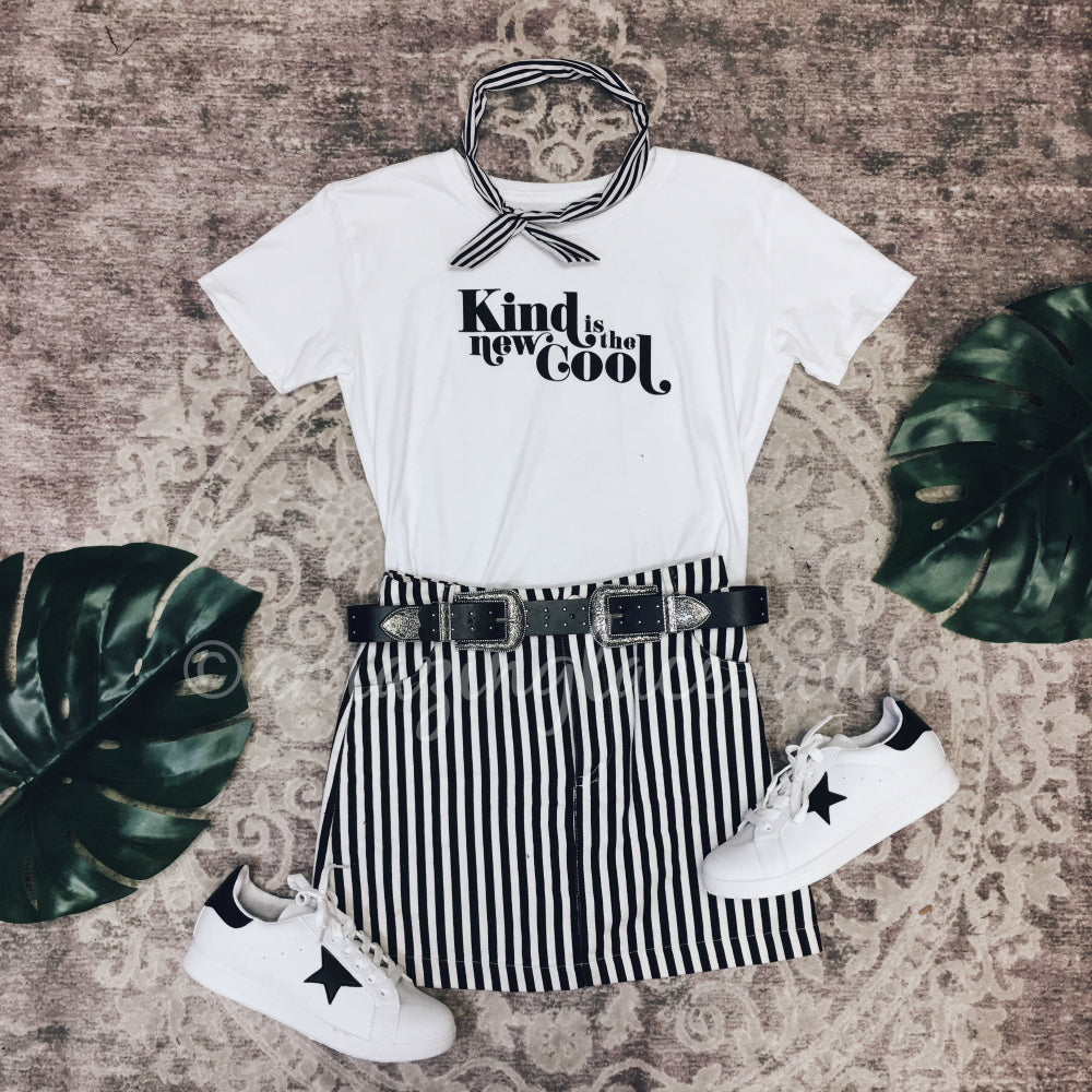 KIND IS THE NEW COOL WHITE TOP AND SKIRT OUTFIT