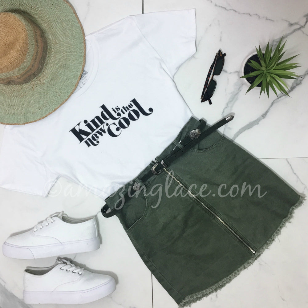 KIND IS THE NEW COOL TOP AND GREEN SKIRT OUTFIT