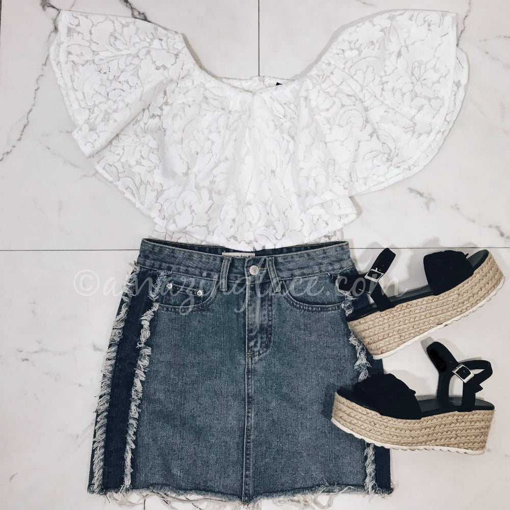 LACE BODYSUIT AND DENIM SKIRT OUTFIT