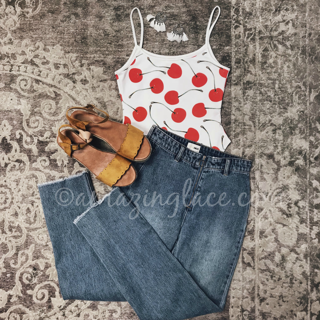 CHERRY BODYSUIT AND AMUSE JEANS OUTFIT