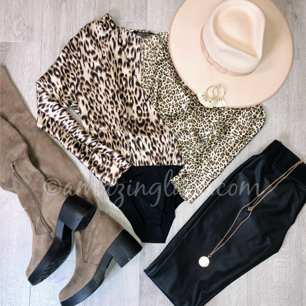 GOLD LEOPARD BODYSUIT AND BROWN BOOTS OUTFIT