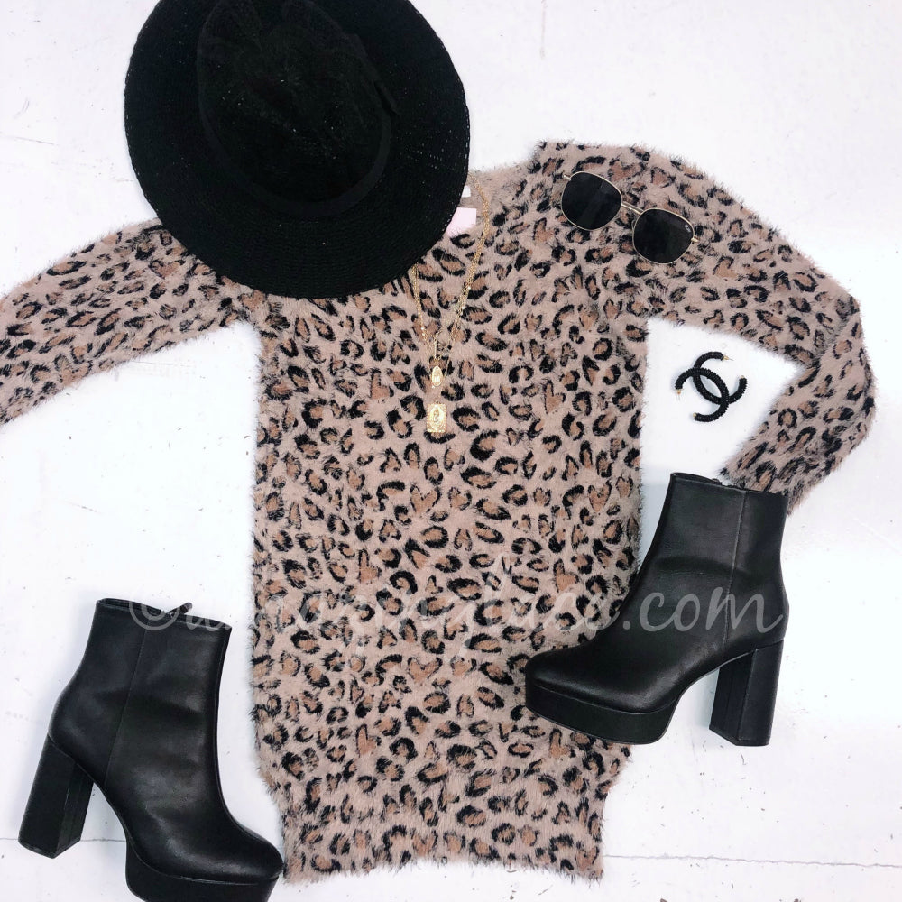 LEOPARD MOHAIR DRESS AND BOOTS OUTFIT