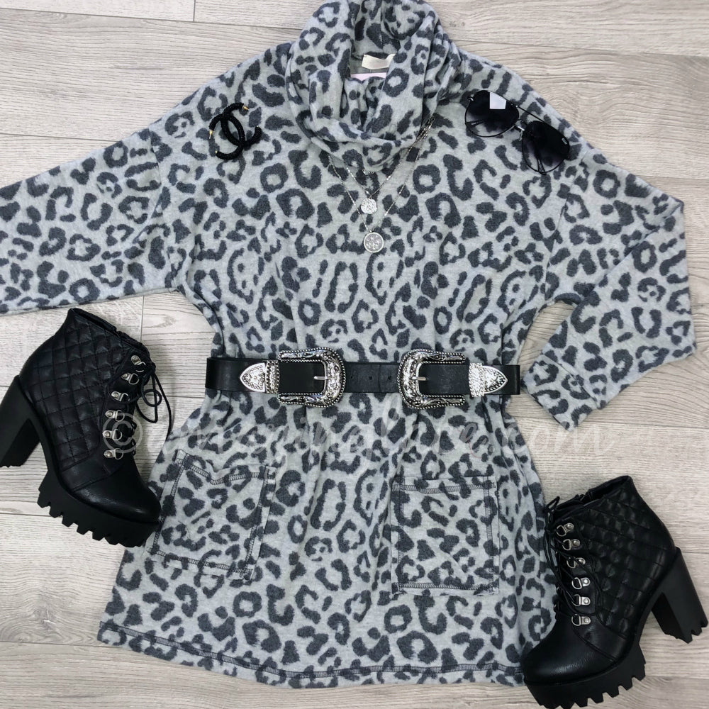 GRAY LEOPARD COWL NECK DRESS AND BOOTS OUTFIT