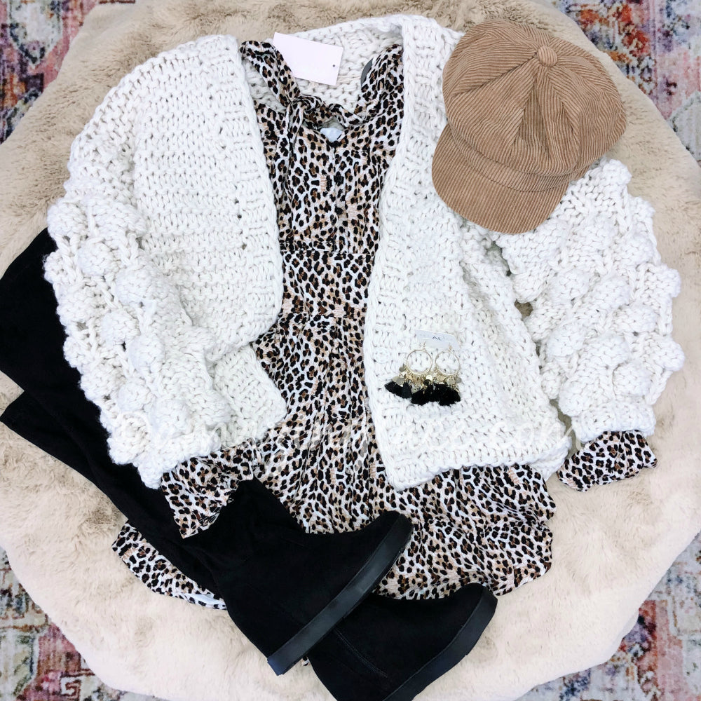 LEOPARD ROMPER AND CHUNKY CARDIGAN OUTFIT