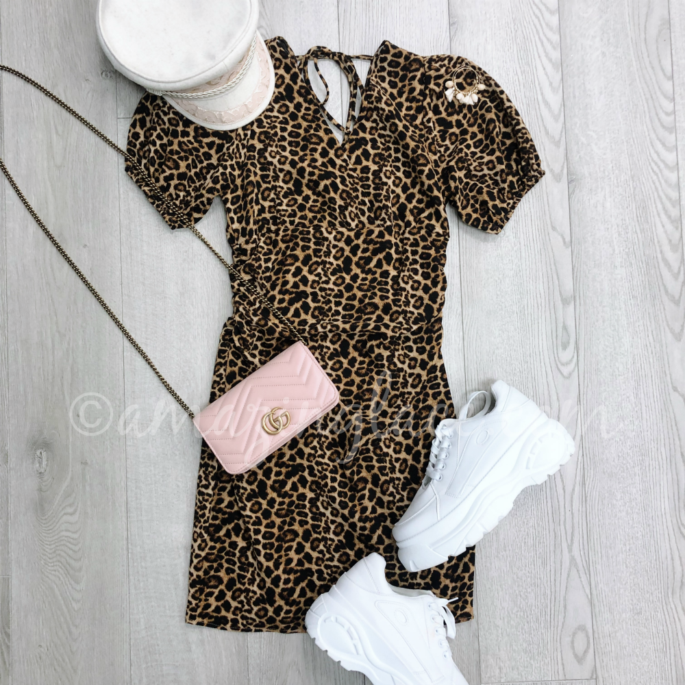LEOPARD DRESS AND PLATFORM TENNIS SHOES OUTFIT