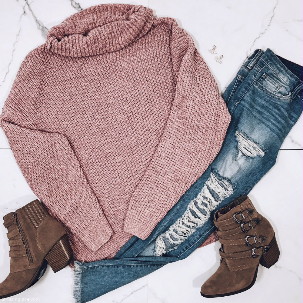 MAUVE CHENILLE TURTLENECK SWEATER AND BOOTIES OUTFIT