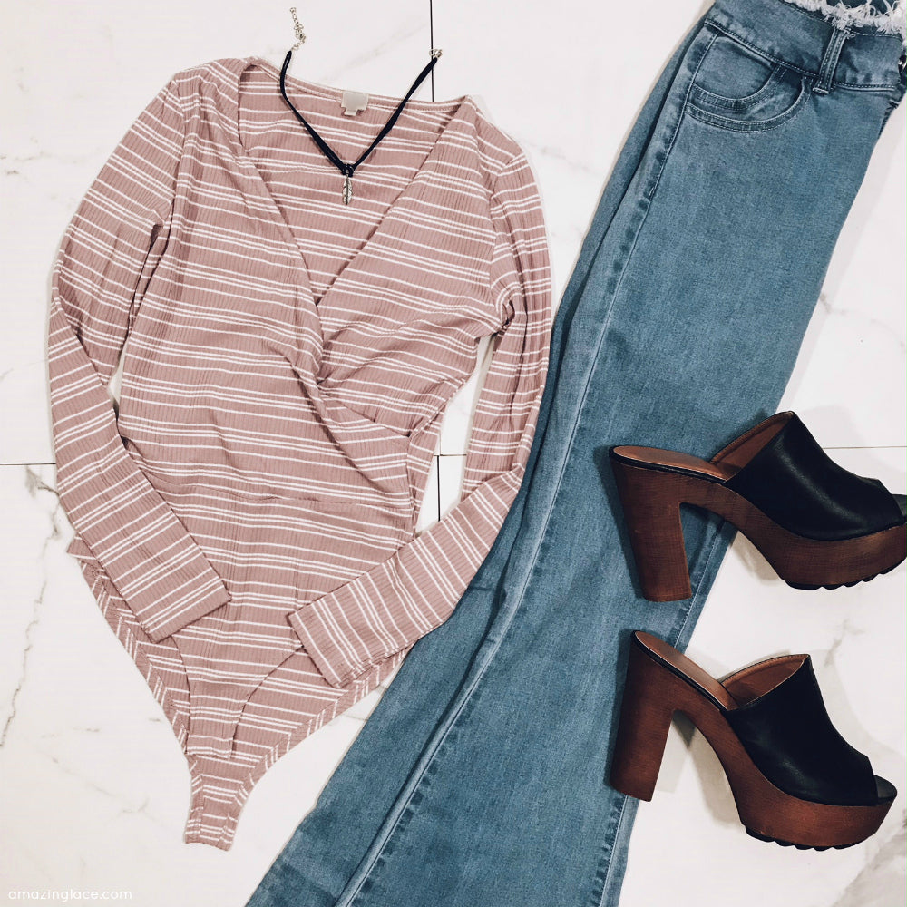 MAUVE STRIPED BODYSUIT AND BELL BOTTOMS OUTFIT