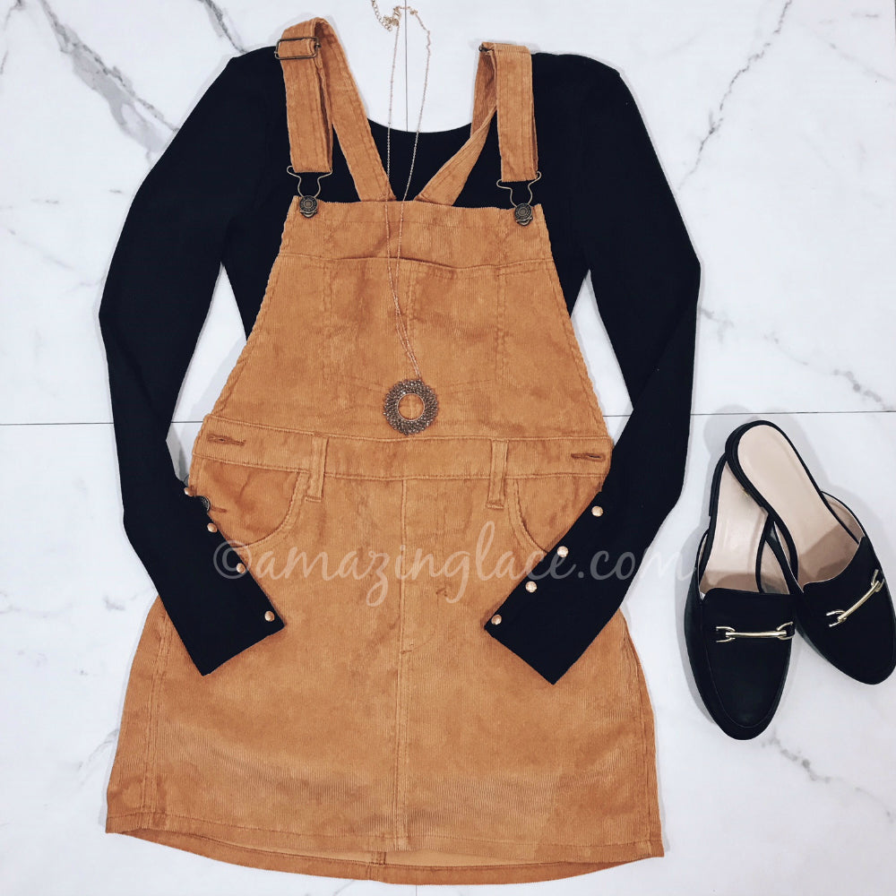 CORDUROY OVERALL DRESS AND LOAFERS OUTFIT
