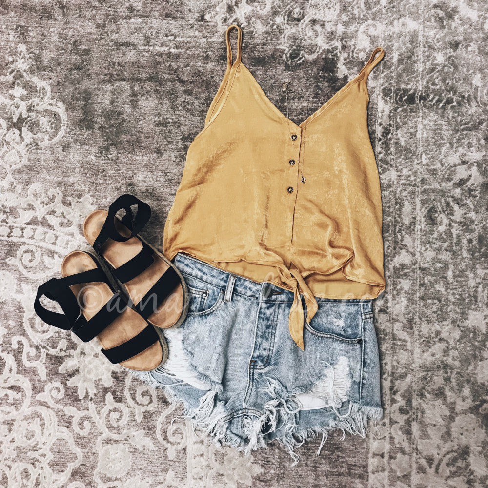 MUSTARD TIE TOP AND DENIM SHORTS OUTFIT