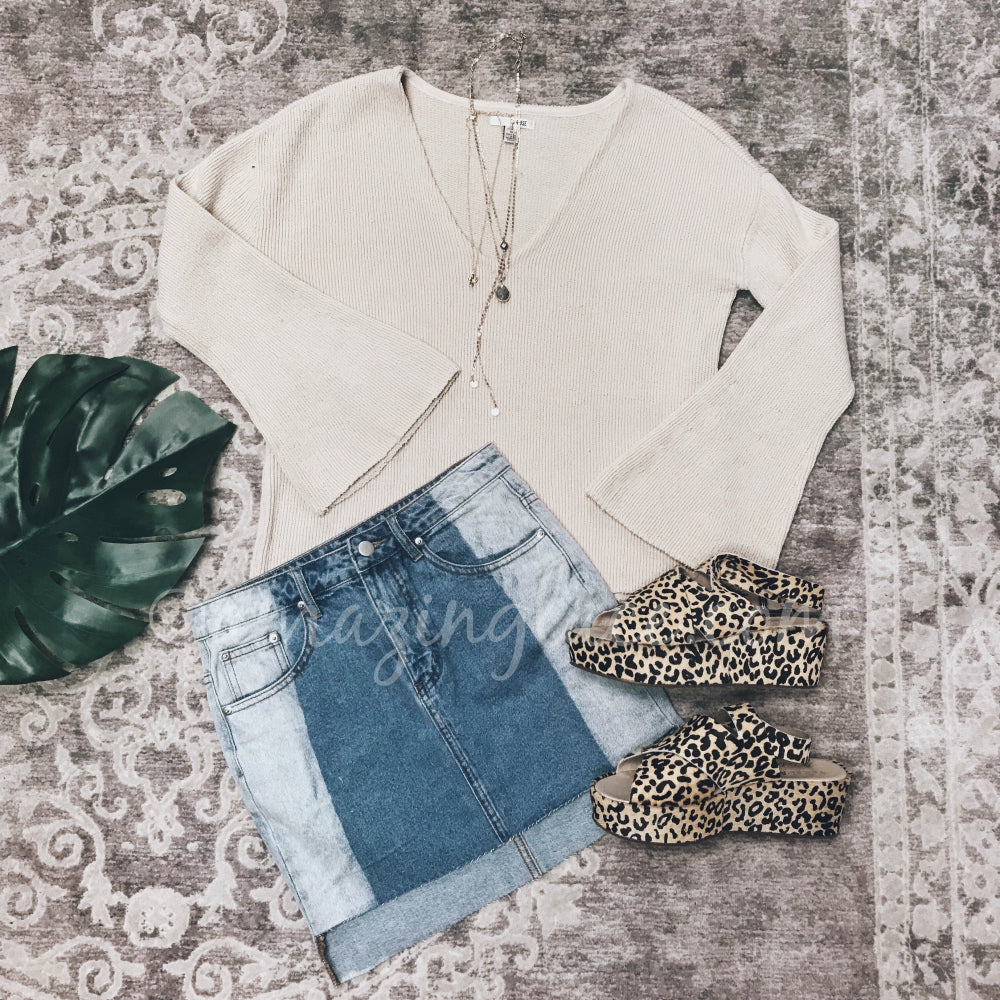 TAN BELL SLEEVED TOP AND DENIM SKIRT OUTFIT