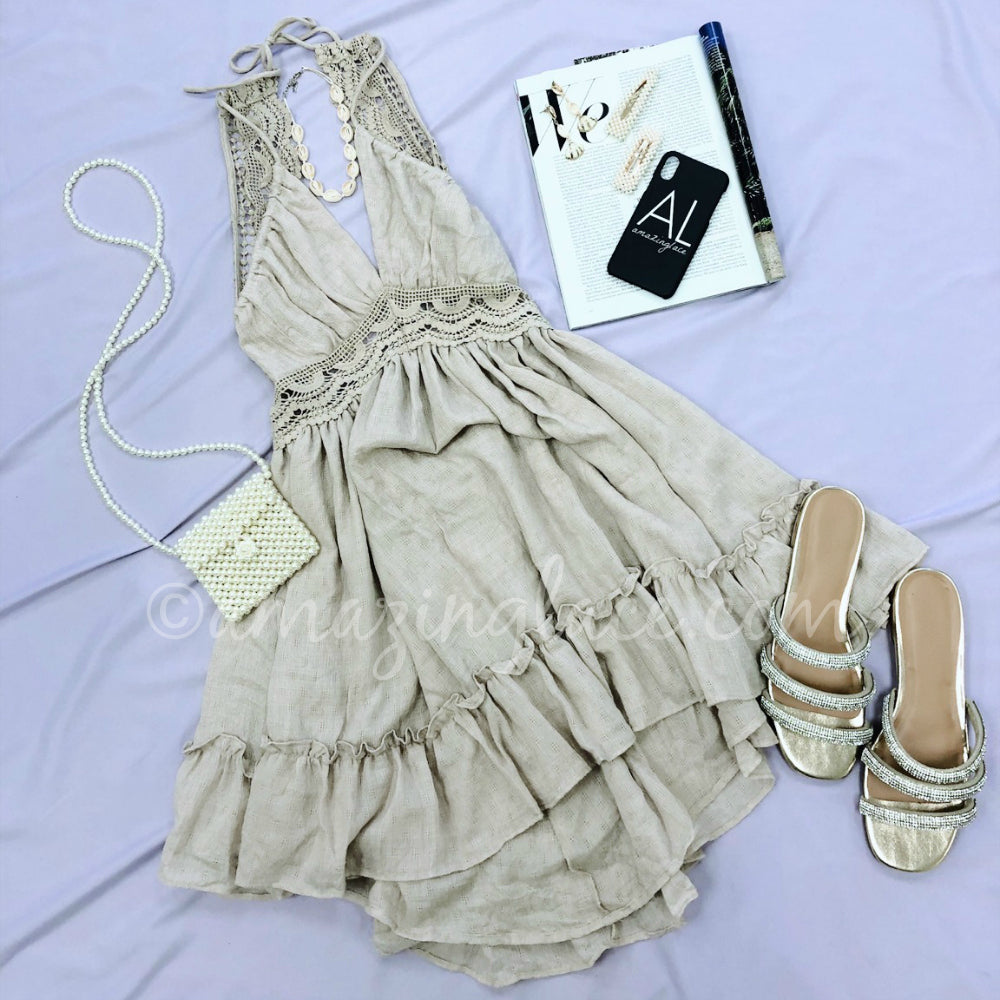 BEIGE HALTER DRESS AND RHINESTONE SLIDES OUTFIT