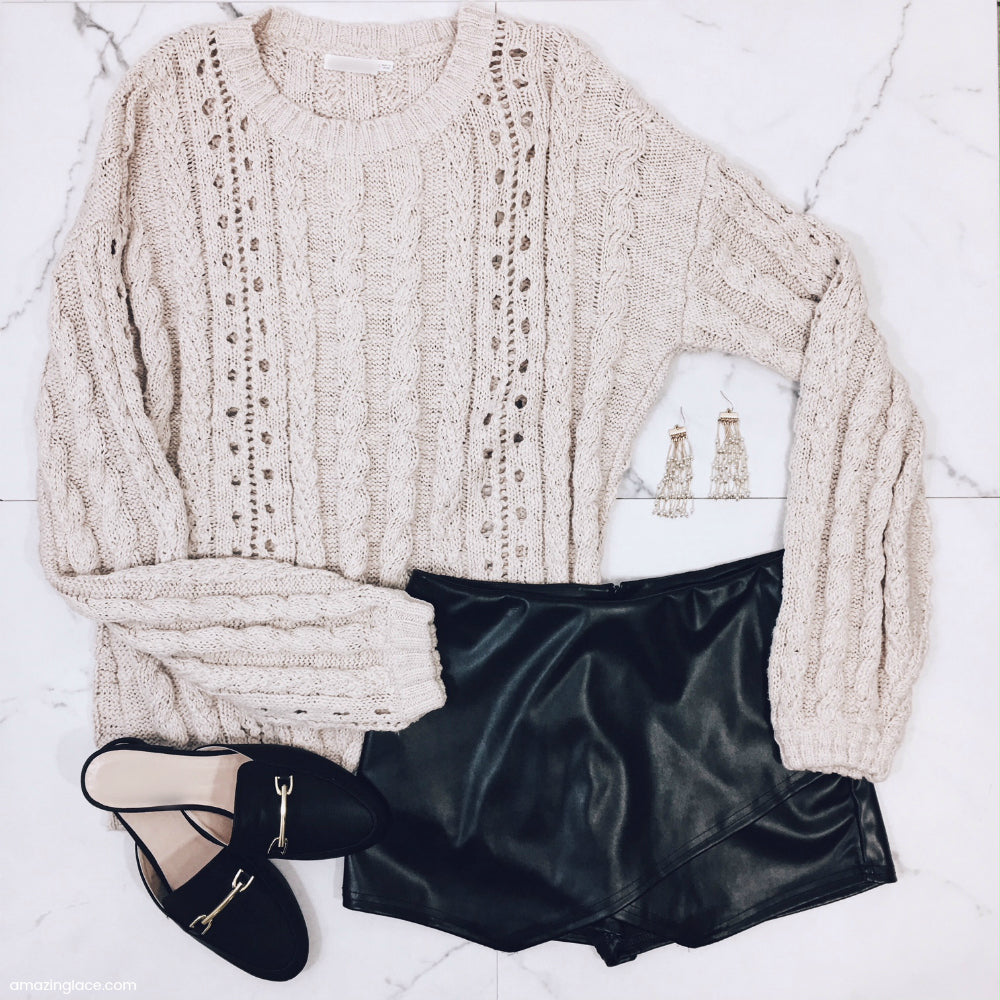 NUDE SWEATER AND BLACK SKORT OUTFIT