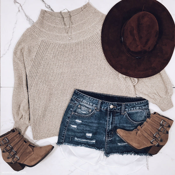 TAUPE SWEATER AND DENIM SKIRT OUTFIT