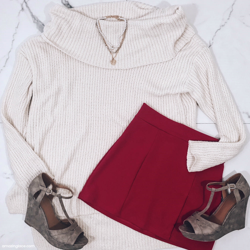 IVORY SWEATER AND FUCHSIA SKIRT OUTFIT