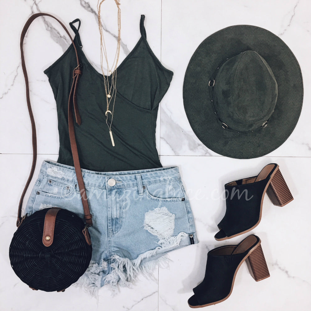 OLIVE BODYSUIT AND DENIM SHORTS OUTFIT
