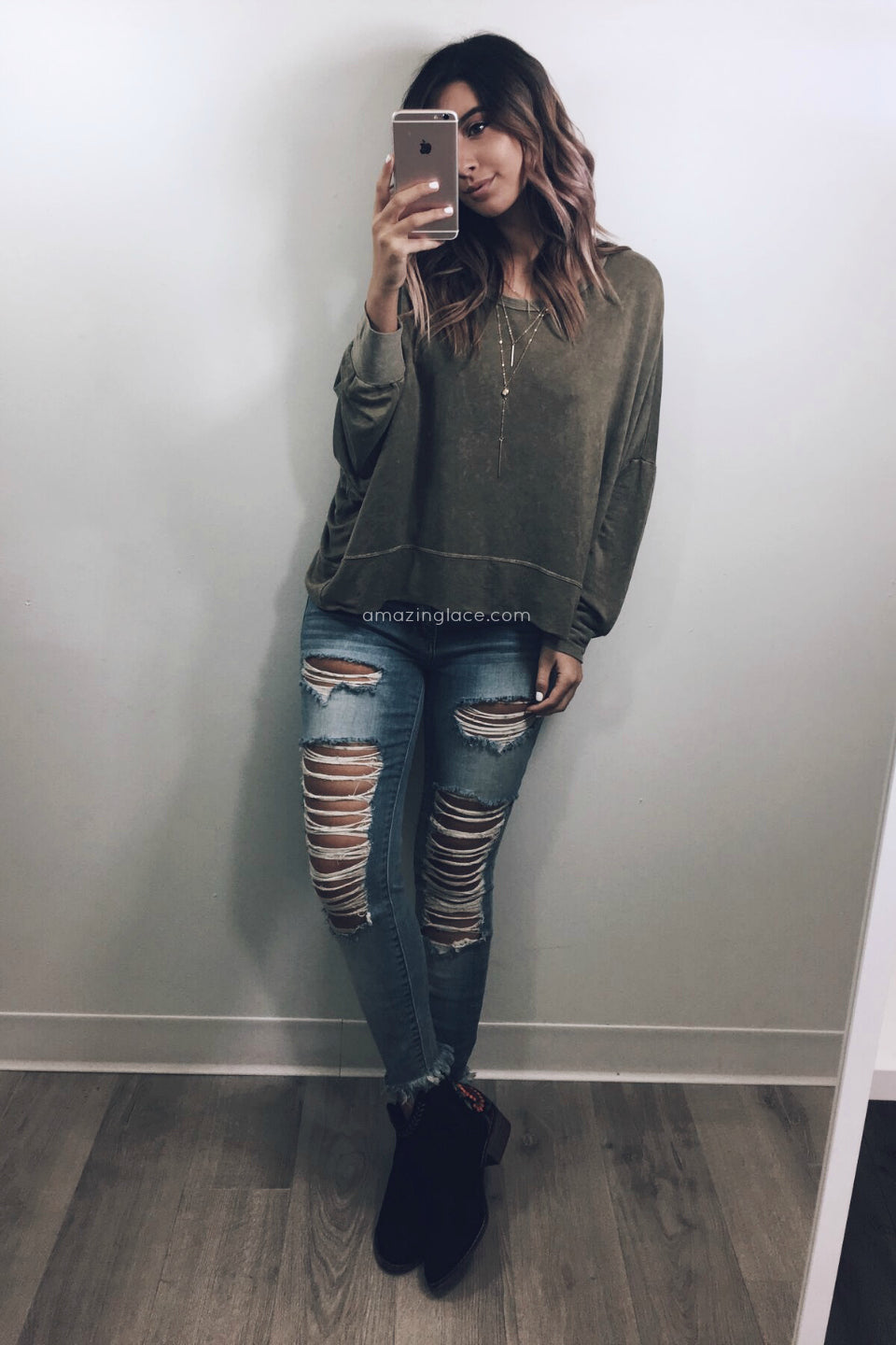OLIVE SWEATER AND DISTRESSED JEANS OUTFIT