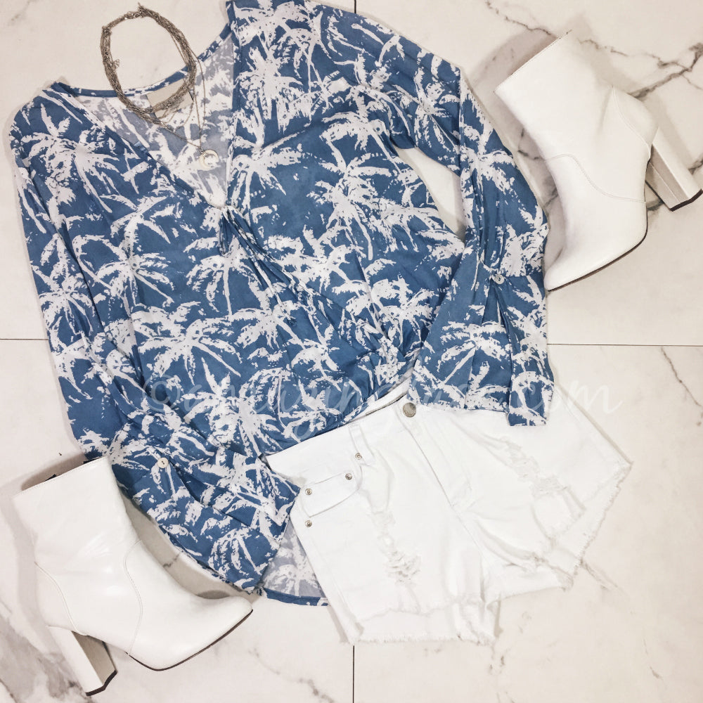 BLUE PALM TOP AND WHITE SHORTS OUTFIT