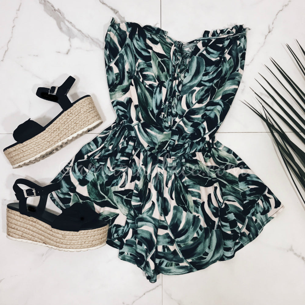 PALM ROMPER AND BLACK ESPADRILLES OUTFIT