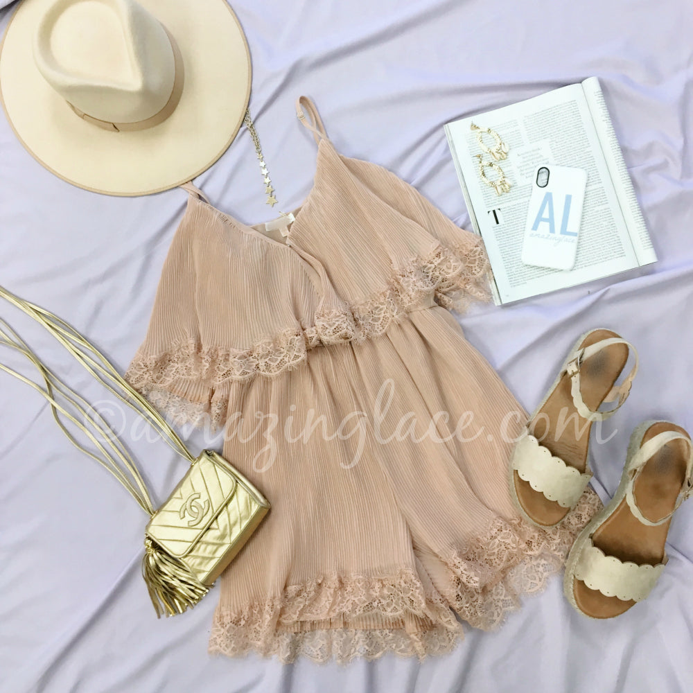 PEACH RUFFLE ROMPER AND GOLD ESPADRILLES OUTFIT