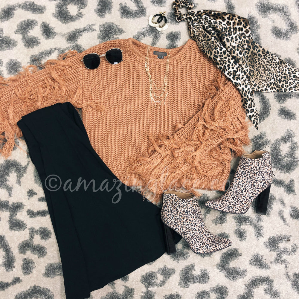 FRINGE SWEATER AND LEOPARD BOOTIES OUTFIT