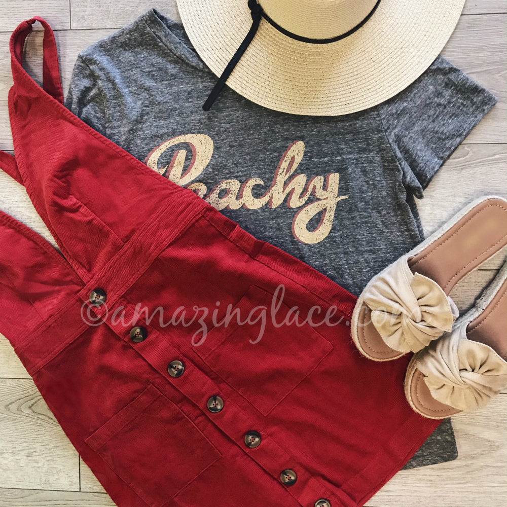 PEACHY TOP AND CORDUROY OVERALL DRESS OUTFIT