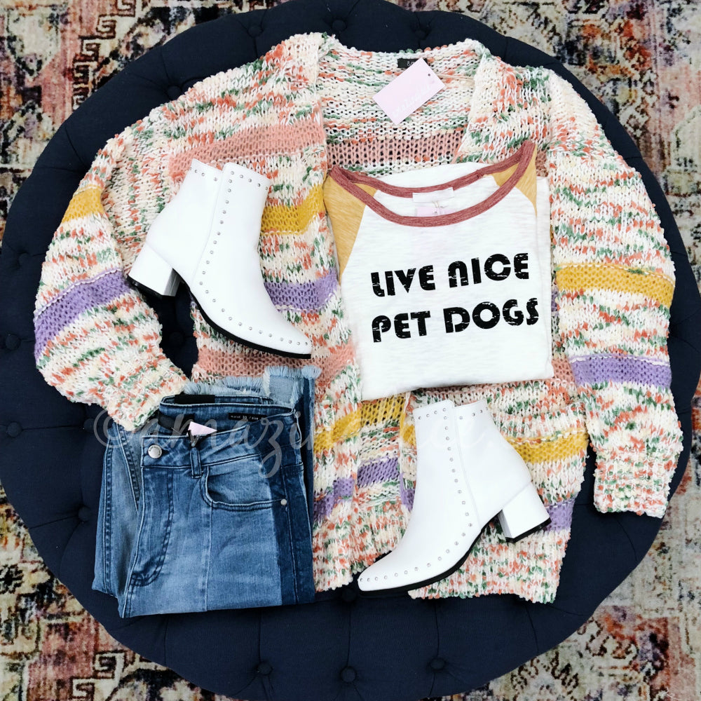 LIVE NICE PET DOGS TEE AND MULTICOLOR CARDIGAN OUTFIT