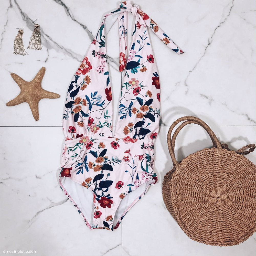 FLORAL ONE PIECE SWIMSUIT OUTFIT