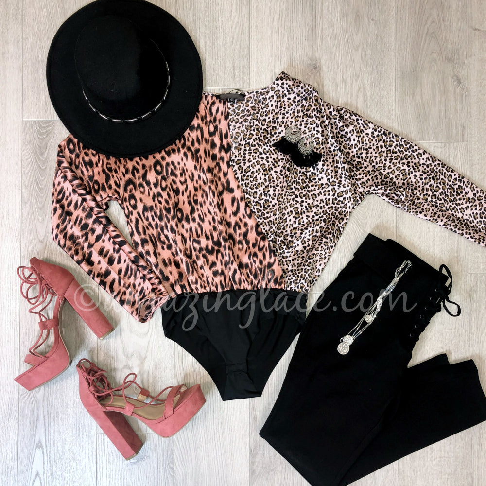 PINK LEOPARD BODYSUIT AND CINNAMON HEELS OUTFIT