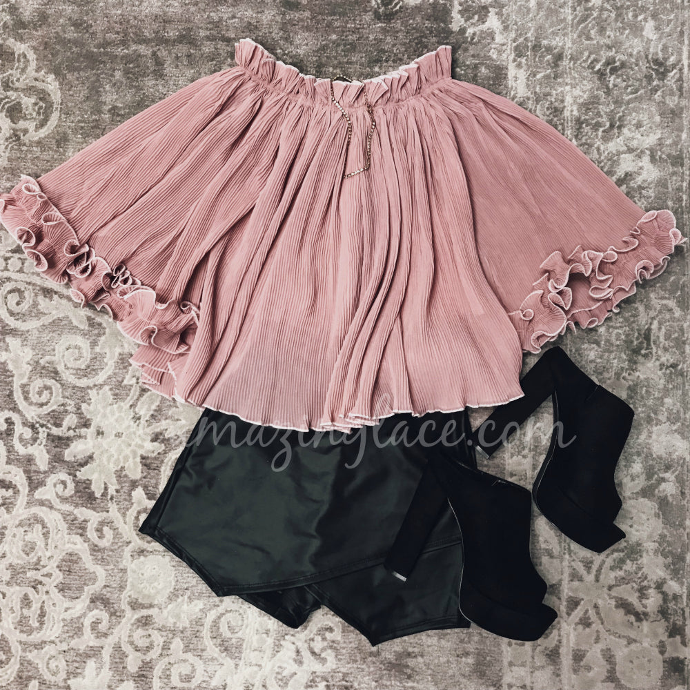 PINK RUFFLE TOP AND SKORT OUTFIT