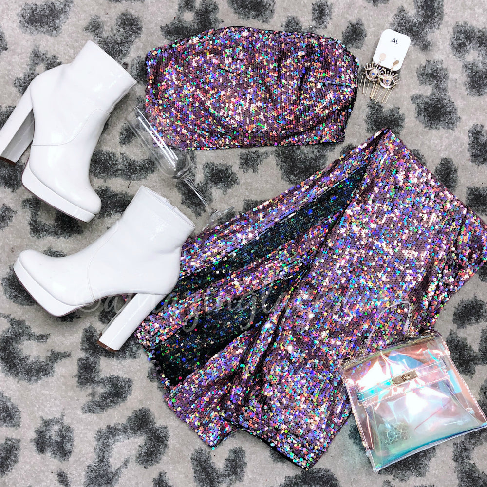 PINK SEQUIN SET AND WHITE BOOTIES OUTFIT
