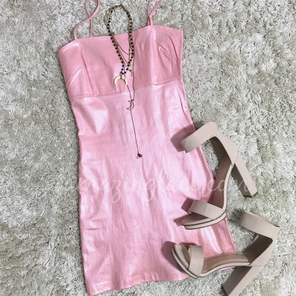 PINK SHIMMER DRESS AND NUDE HEELS OUTFIT