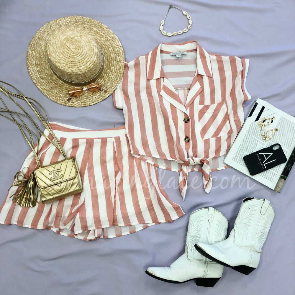 PINK STRIPE SET AND WESTERN BOOTS OUTFIT