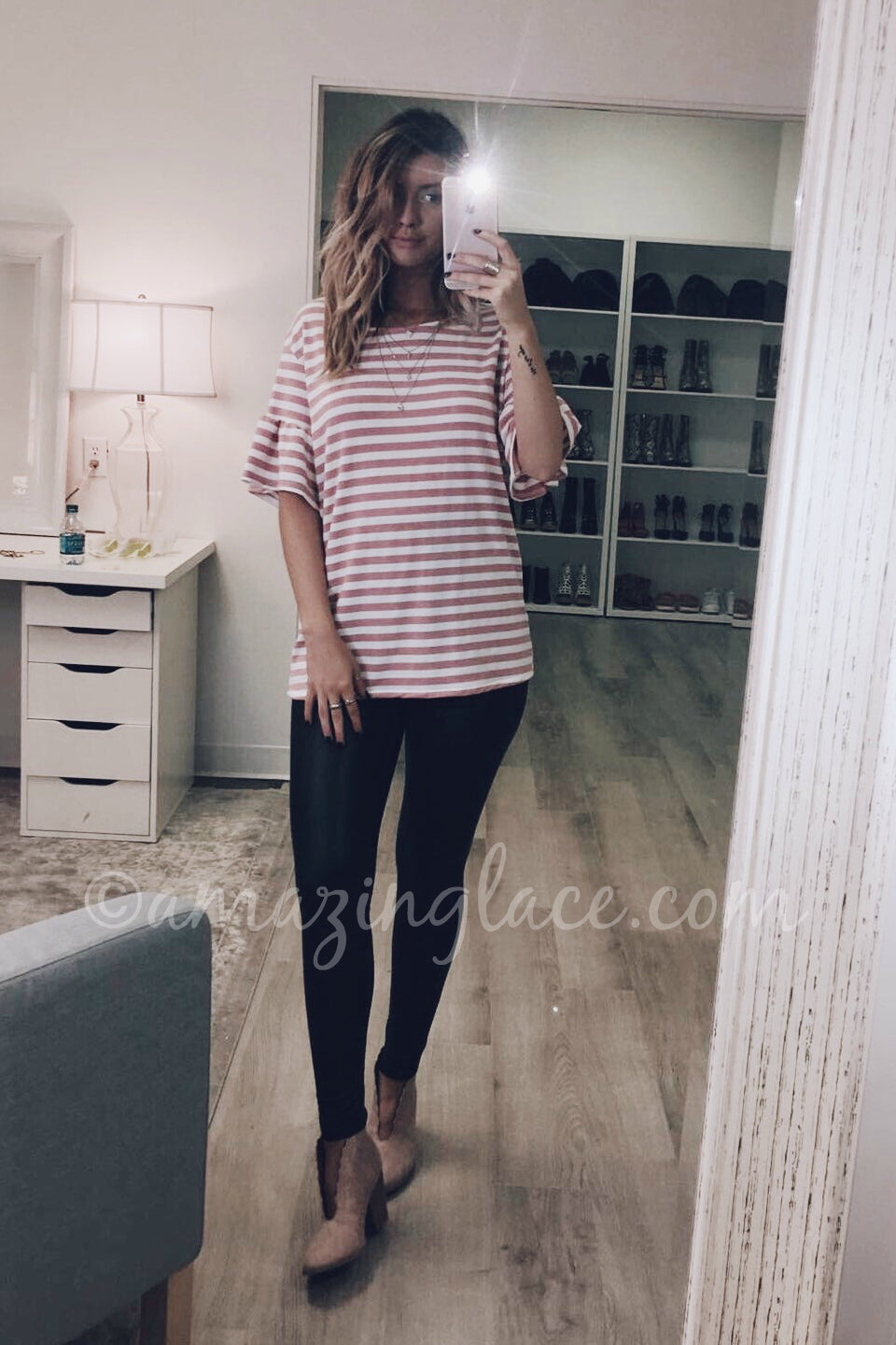 STRIPED TOP AND FAUX LEATHER LEGGINGS OUTFIT