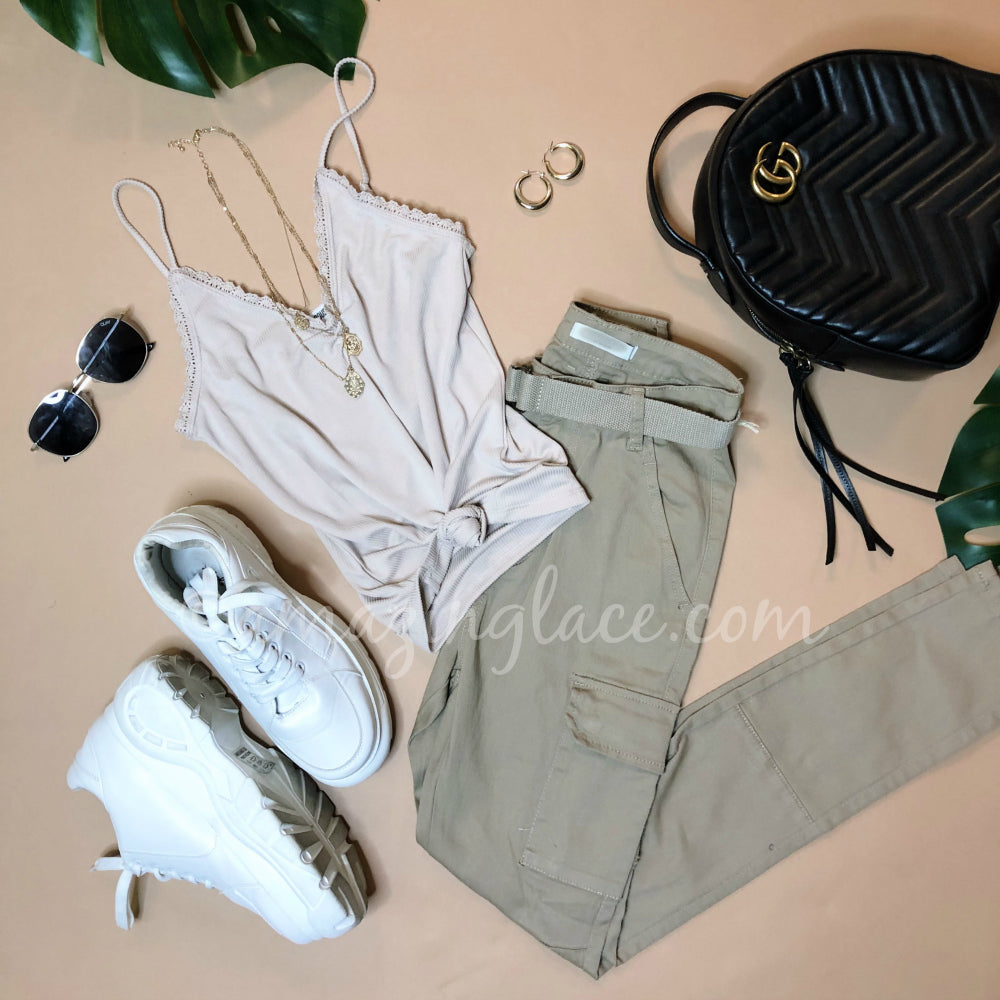 NUDE TANK AND CARGO PANTS OUTFIT