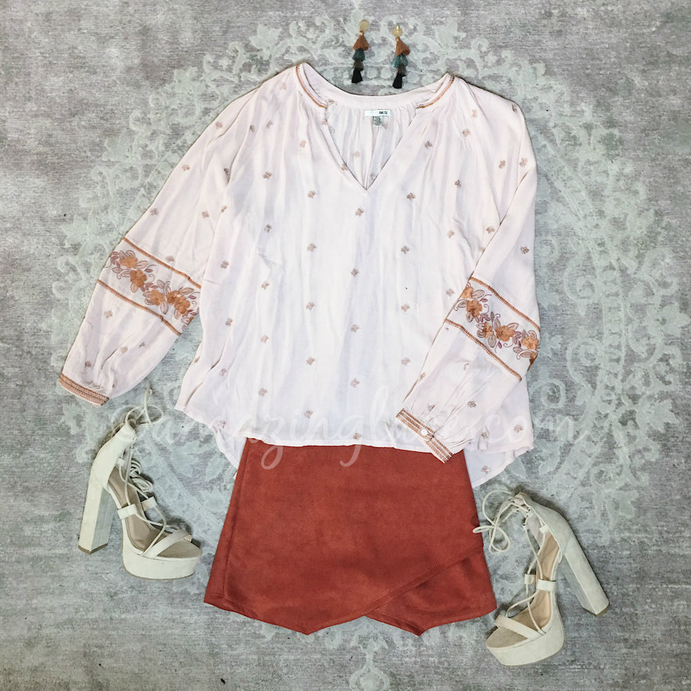 PINK BOHO TOP AND RUST CORDUROY SKIRT OUTFIT