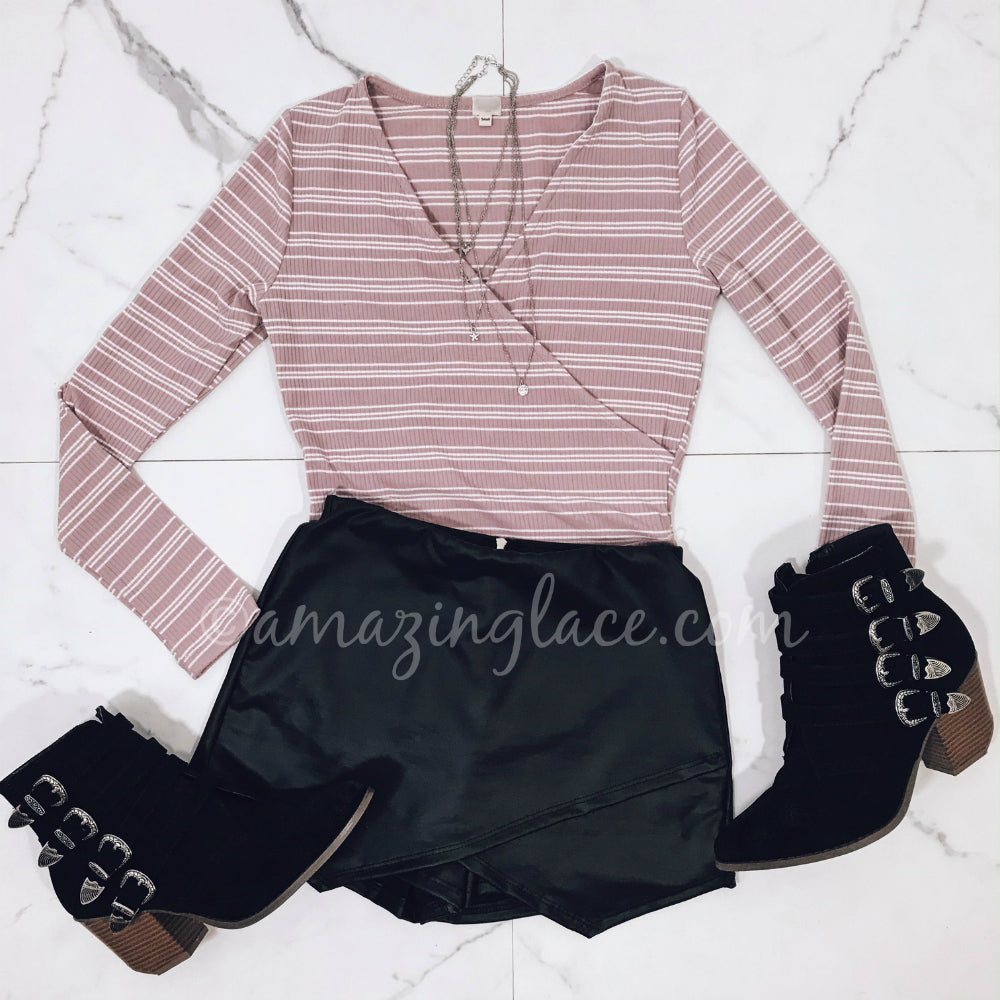 PINK STRIPED BODYSUIT AND BLACK SKORT OUTFIT
