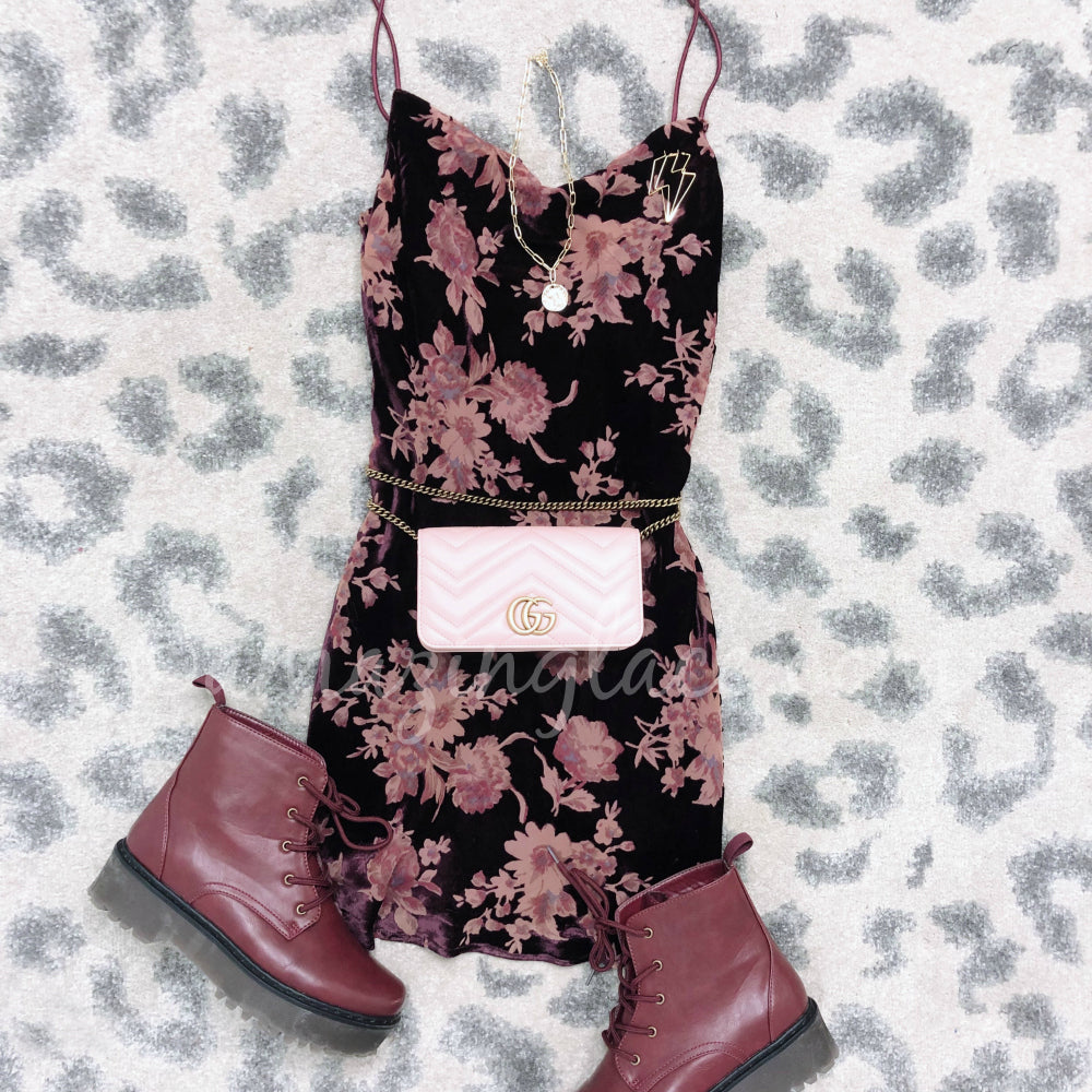 PLUM VELVET DRESS AND BURGUNDY BOOTS OUTFIT