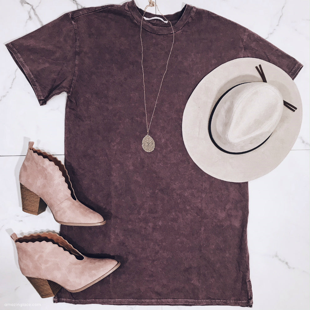 PURPLE SHIRT DRESS AND MAUVE BOOTIES OUTFIT