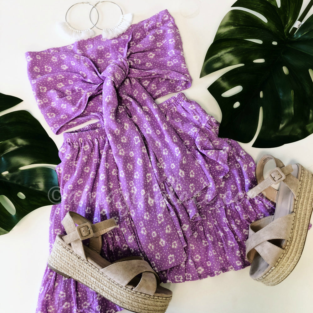 PURPLE KNOT DRESS AND ESPADRILLES OUTFIT