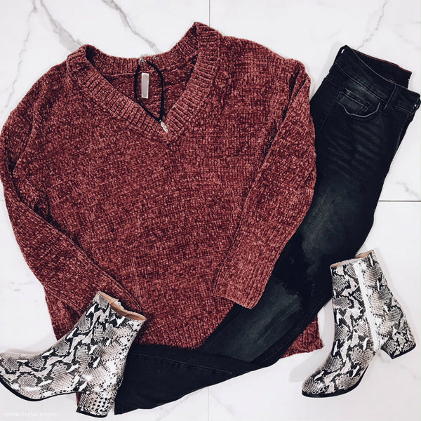RED CHENILLE SWEATER AND SNAKE BOOTIES OUTFIT