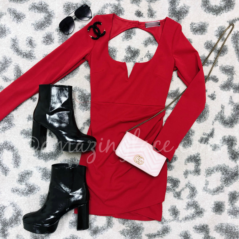 RED OPEN BACK DRESS AND CHINESE LAUNDRY PATENT BOOTIES
