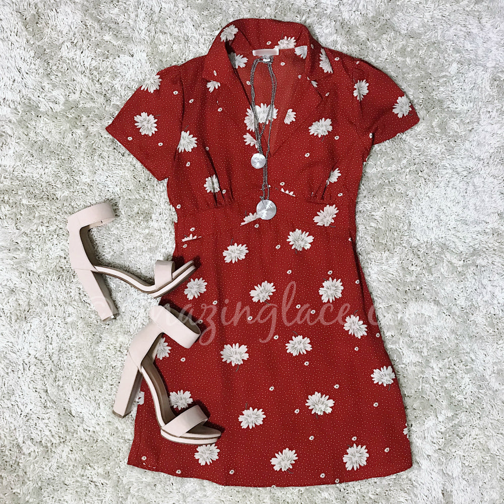 RED FLORAL DRESS AND NUDE HEELS OUTFIT