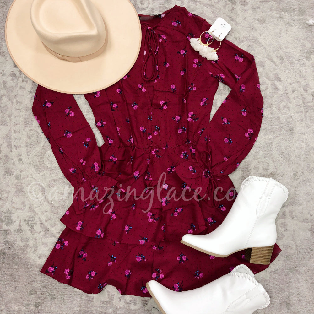 RED ROSES DRESS AND WHITE WESTERN BOOTIES OUTFIT