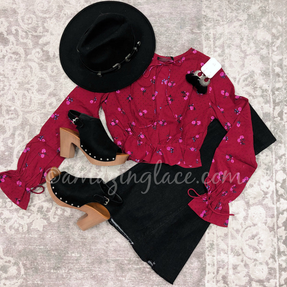 RED ROSE TOP AND BLACK FLARES OUTFIT
