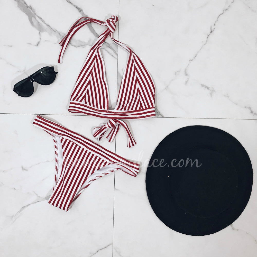 RED & WHITE STRIPED BIKINI OUTFIT