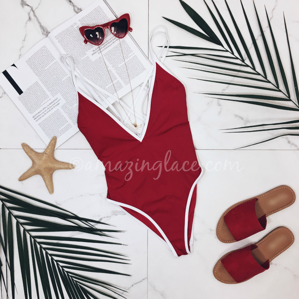RED ONE PIECE AND RED SLIDES OUTFIT
