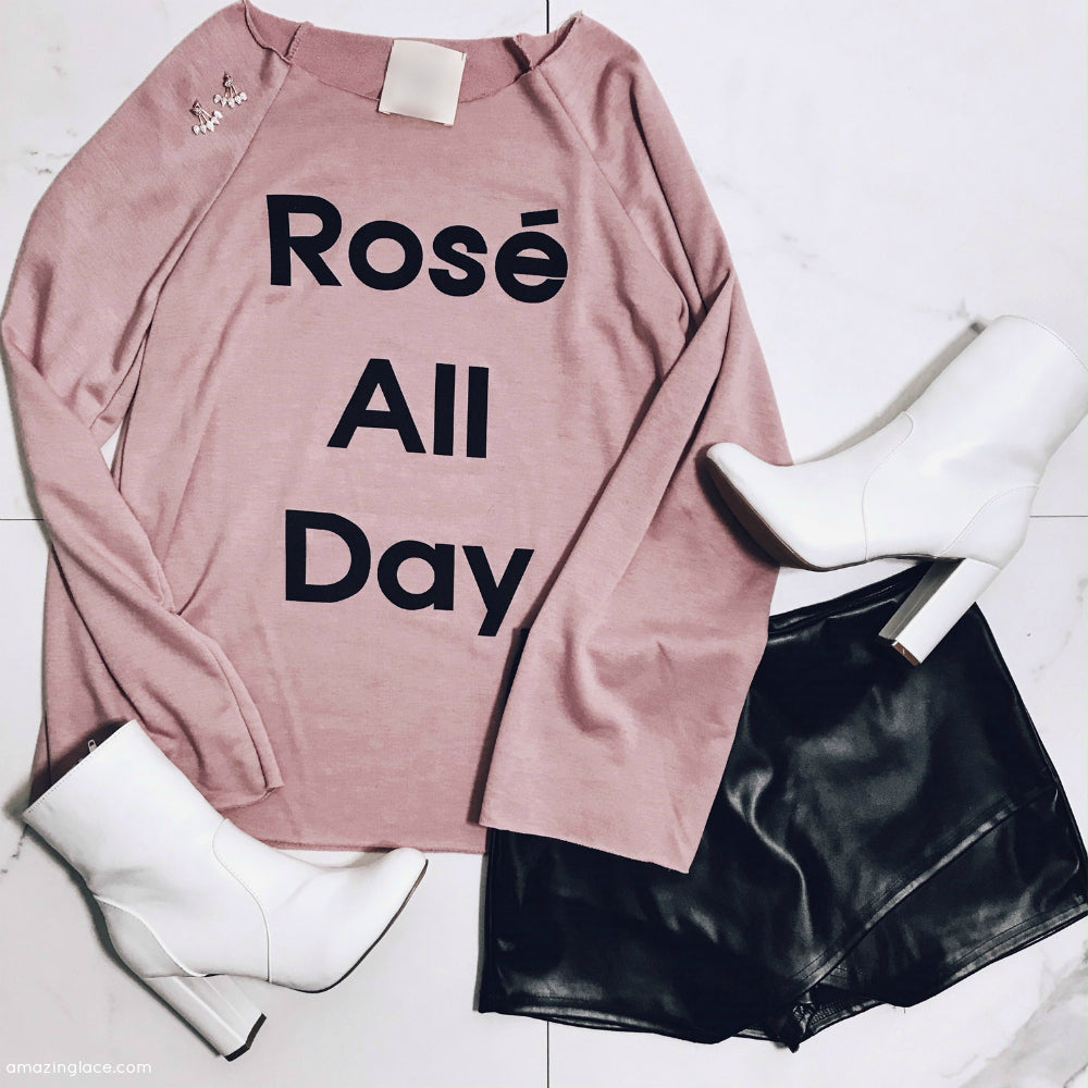 ROSE' ALL DAY TOP WITH BLACK SKORT OUTFIT