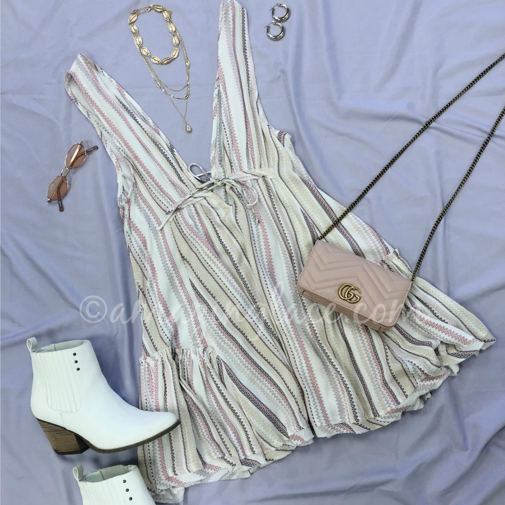 ROSE STRIPE BOHO DRESS AND WHITE BOOTIES OUTFIT
