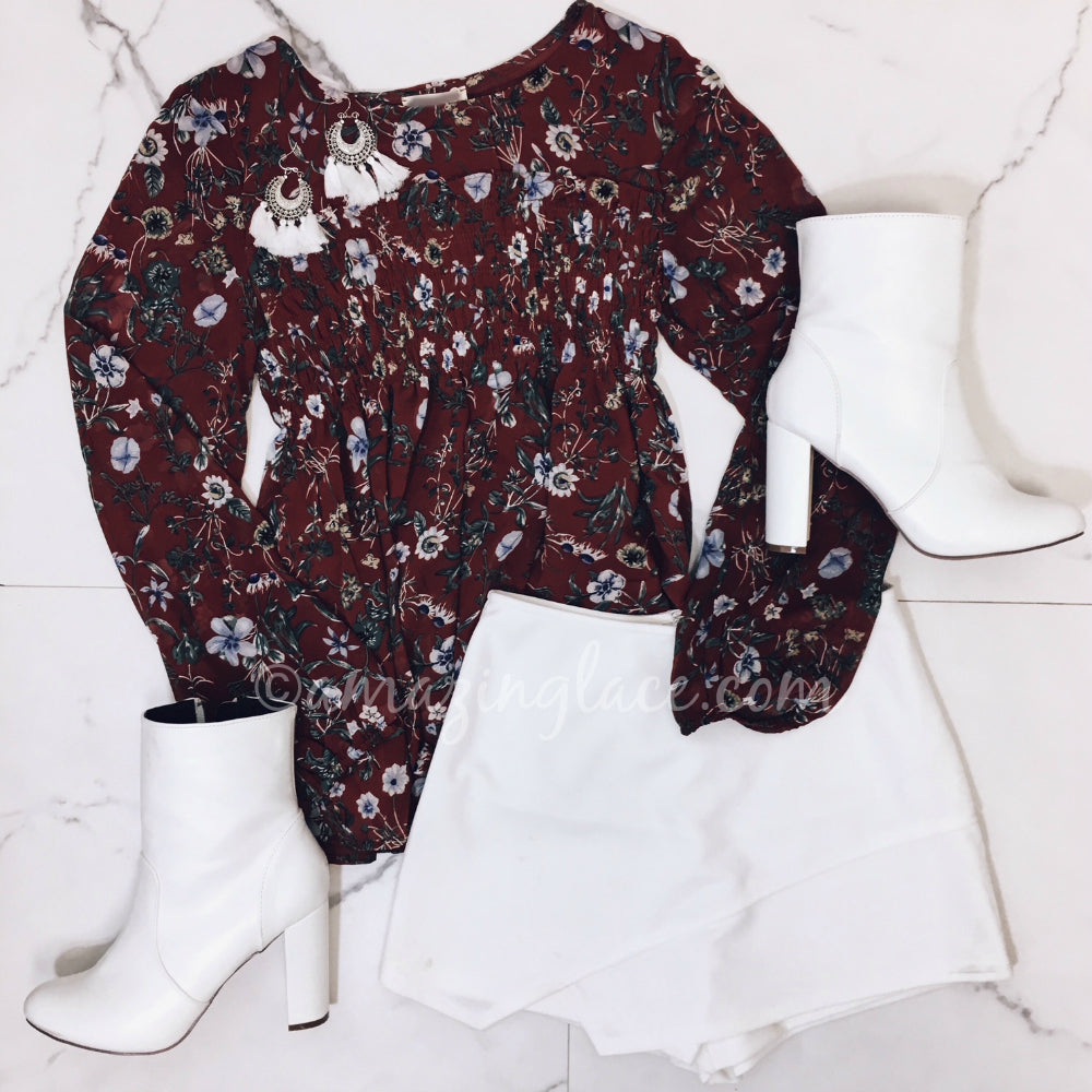 FLORAL RUST TOP AND WHITE SKORT OUTFIT
